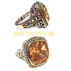 Golden Topaz Crystal Large Stone Ring, 8,NWT